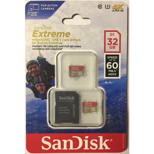 Sandisk Extreme 32 Gb Microsdhc - Uhs-i [u3] - 90 Mb/s Read - 40 Mb/s Write2 Pack (sdsdqxl2-032g-aa)
