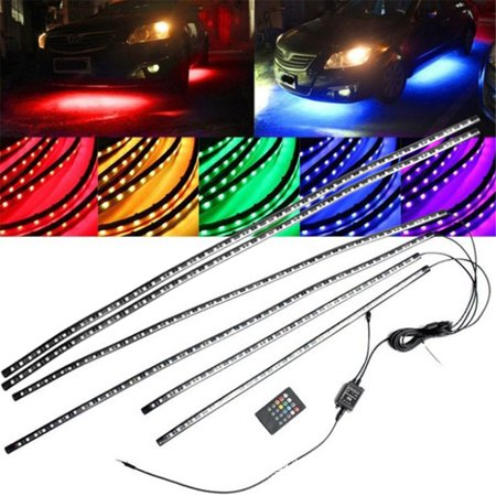 Car Neon Underglow lights, Waterproof RGB LED Strip Light Multi-colored Underbody Exterior Lighting Kit with Music Mode, Wireless Remote Control, Adjustable Brightness, DC