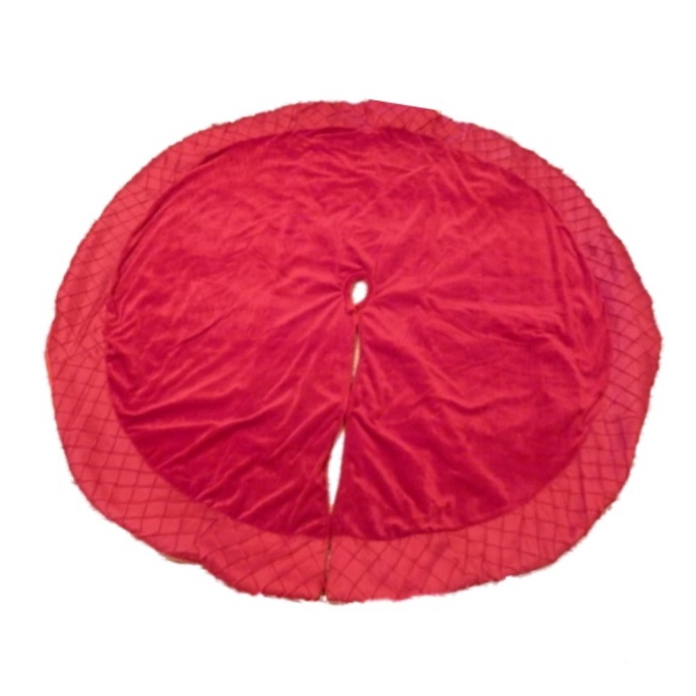 Holiday Time Red Velvet Christmas Tree Skirt With Quilted Edges Xmas