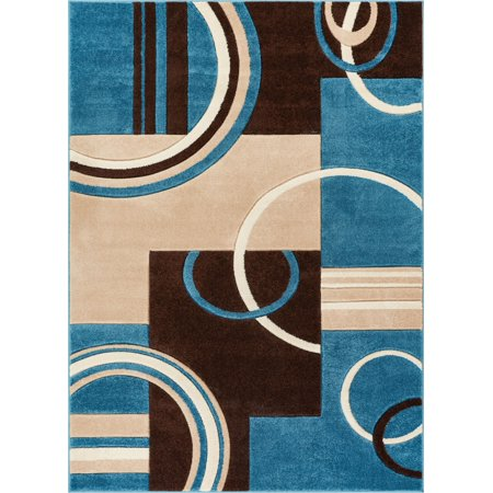 Echo Shapes Circles Blue Brown Modern Geometric Comfy Casual Hand Carved Area Rug 4x5 4x6 3 11 X 5 Easy Clean Stain Fade Resistant