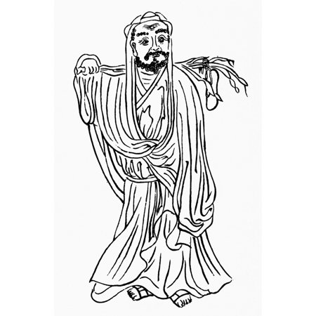 Bodhidharma  Fl 520 Ad  Nindian Buddhist Monk Founder Of The Zen Sect Of Buddhism Bodhidharma With The Tea Plant He Is Credited With Discovering Chinese Drawing Rolled Canvas Art     18 X 24