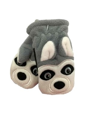 CP Infant Boys Gray Microfleece Husky Dog Mittens