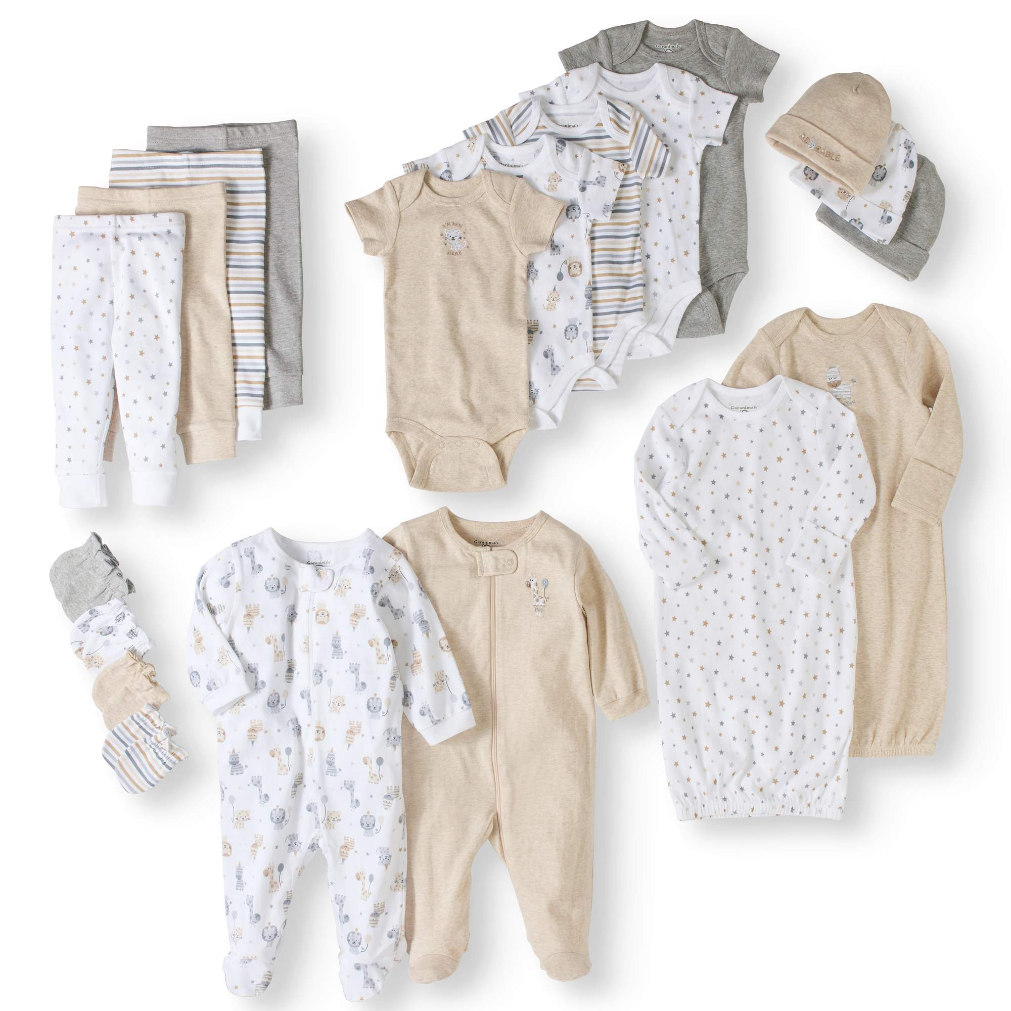 Click here to buy Garanimals Newborn Baby Boy or Girl Unisex 20 Piece Layette Baby Shower Gift Set.