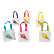 Ice Cream Tote Bags, Party Favor Bags, Assorted Designs (24)