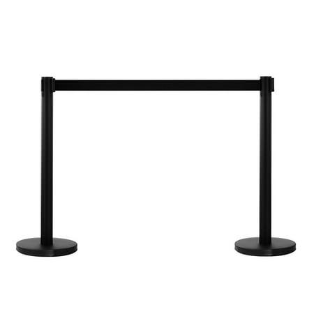 Beltrac 3000 Retractable Belt - Zimtown 2PCS Stanchion Posts Queue Pole Retractable Black Belt Crowd Control Barrier
