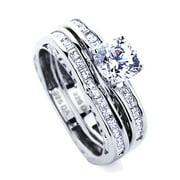 Men Women Sterling Silver 1.2ct Round CZ Wedding Ring Set 2pcs Engagement Ring Bridal Set ( Size 5 to 9 )