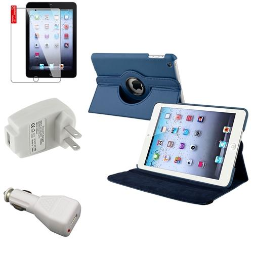 iPad Mini 3/2/1 Case, by Insten 4-item Navy Blue Leather Case AC Car Charger For iPad Mini 3rd 2nd 1st (Auto Sleep/Wake)