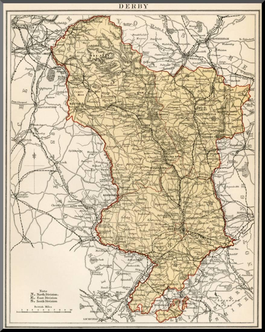 Map of Derbyshire, England, 1870s Wood Mounted Print Wall Art ... Derbyshire England Map on