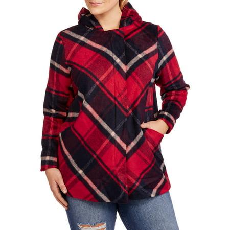 Maxwell Studio Women's Plus-Size Faux Wool Zip-Front Hooded Coat