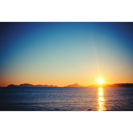 Mountain Sunset Beach Home Office Wall Artwork Decoration Posters, Large Signs - 12x18