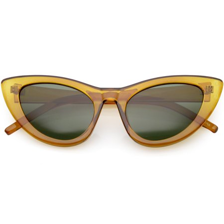 Oversize Cat Eye Sunglasses Tapered Arms Neutral Colored Lens 49mm (Brown / Green) Dark Brown Lens
