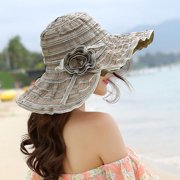 Womens Sun Straw Hat Wide Brim Summer Hat Foldable Roll up Floppy Beach Hats for Women