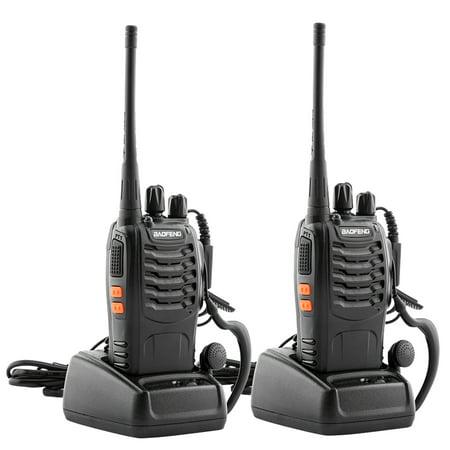 Police Walkie Talkie (Bingkers Long Range Walkie Talkie Rechargable Handheld Two Way Radio with Earpiece (2)