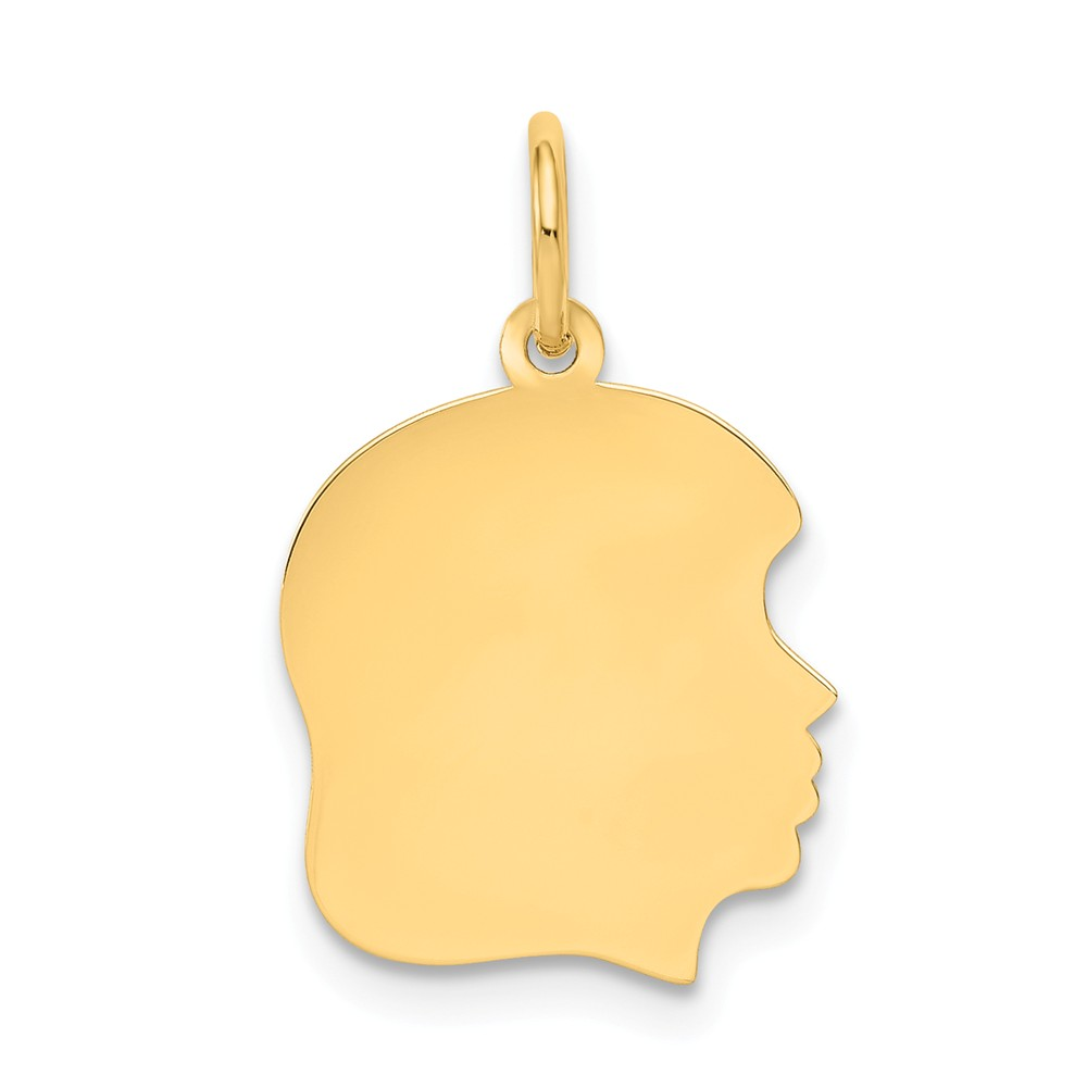 14k Yellow Gold 0.018 Gauge Facing Right Engraveable Girl Head Charm Pendant