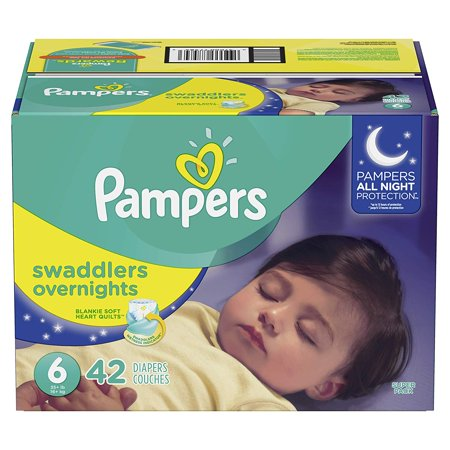 - Pampers Swaddlers Overnights Disposable Diapers  Economy Pack Size 6, 42 Count