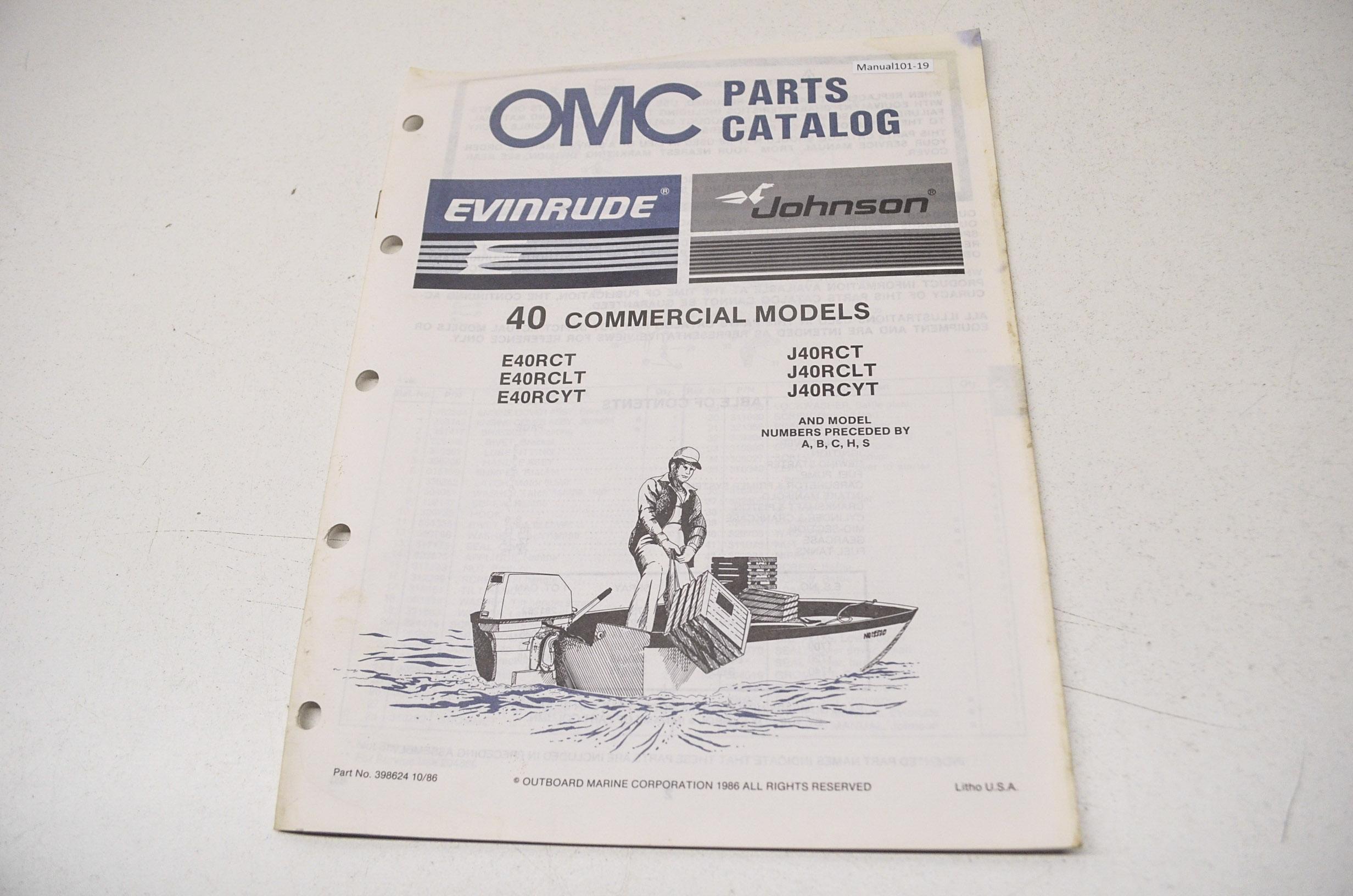 OMC 398624 Parts Catalog 40 Commercial Models QTY 1