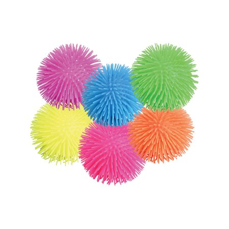 """12 Set Of 5"""" Assorted Color Puffer Squishy Pon Pon Ball Party Favor Classic Toy"""