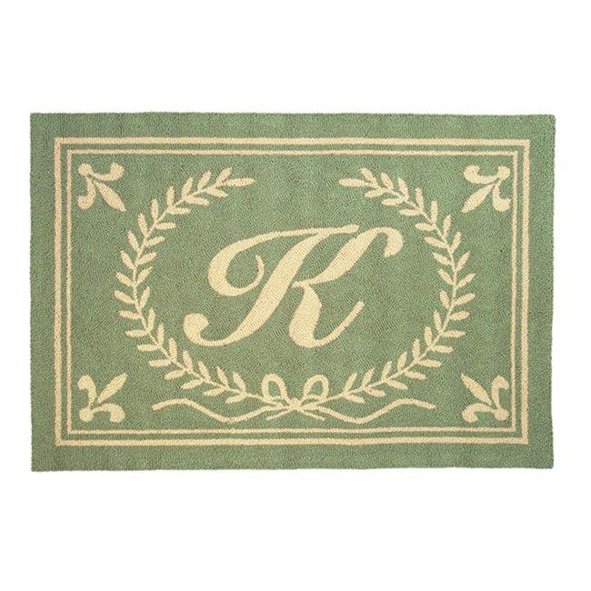 Image of 123 Creations C236PP Green Intial P Hook Rug