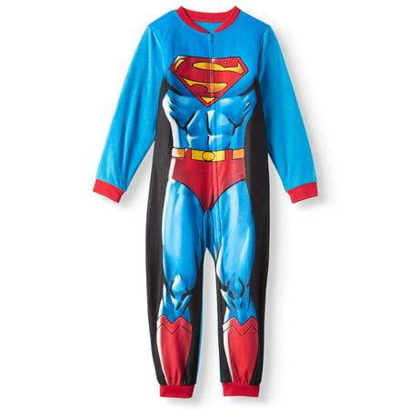 Superman Boys' One Piece Pajama Sleeper with Removable Cape (Little Boys & Big Boys) - Superhero Bodysuit