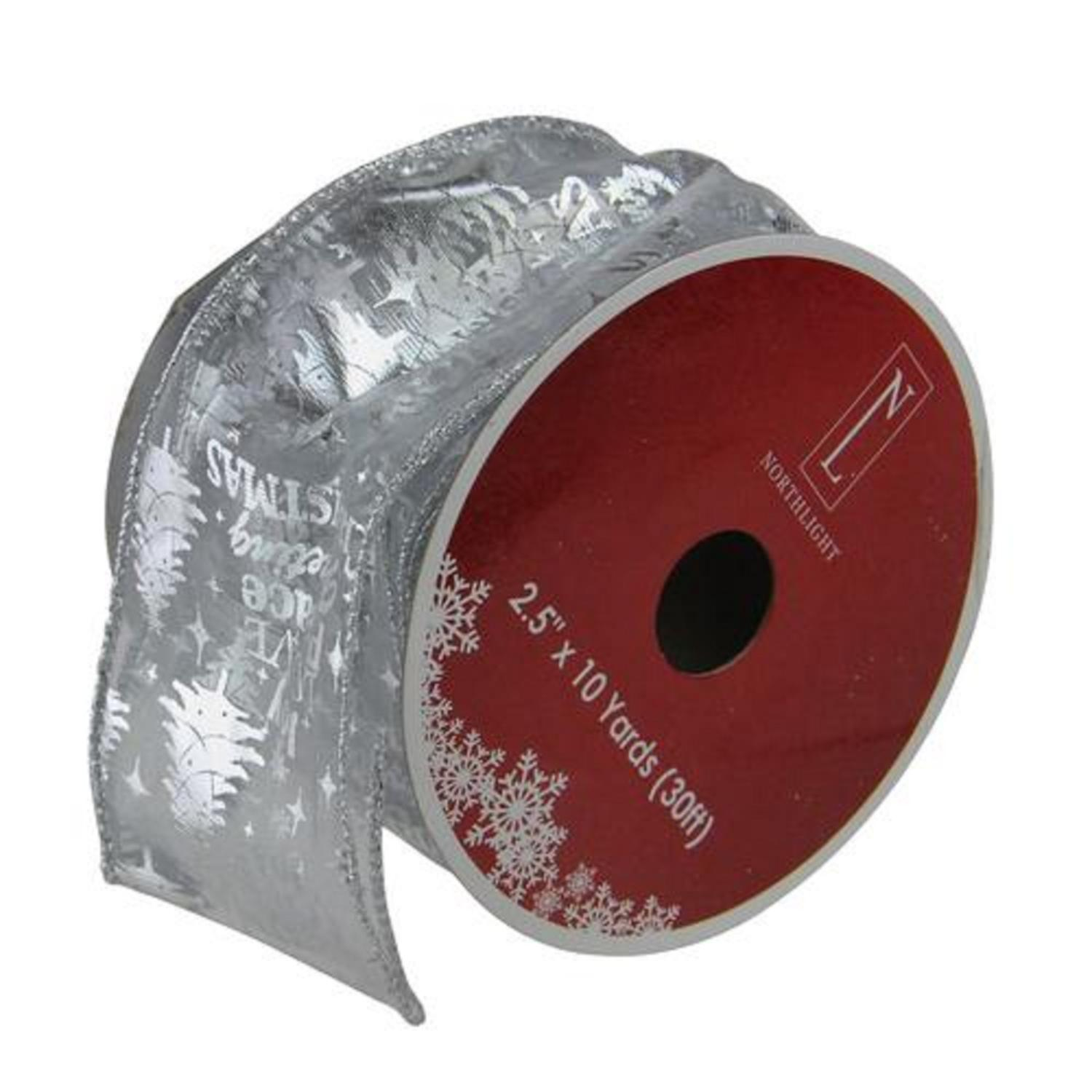 """Silver Wired Christmas Words Craft Ribbon 2.5"""" x 10 Yards"""