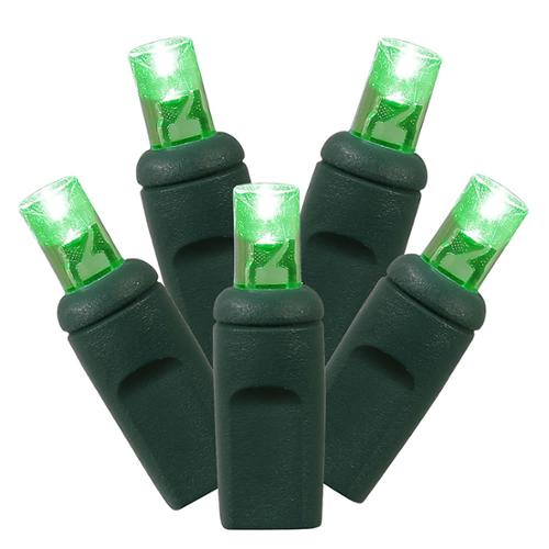 Set of 100 Green Commercial Grade LED Wide Angle Christmas Lights - Green Wire