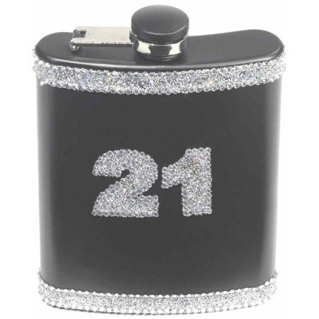 Cocktail Party Games (21st Birthday Glitter Flask 21 Black Silver Over Hill Cocktail Party Favor)