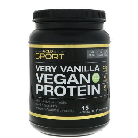California Gold Nutrition  Very Vanilla Flavor Vegan Protein  Pea   Brown Rice  No Soy  No GMOs  16 oz  454