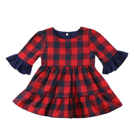Baby Girl Buffalo Red Plaid Ruffle Long Sleeve Christmas Cotton Dress (90/2-3 Years)