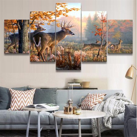 5PCS S/L Frameless Canvas Prints Pictures, Deer Forest Morden Oil Painting, Wall Art For Office Cafe Hallway, Home (Deer Painting)