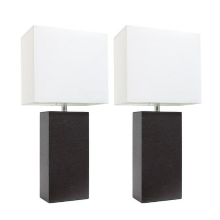 Elegant Designs 2 Pack Modern Leather Table Lamps with White Fabric Shades, Espresso Brown