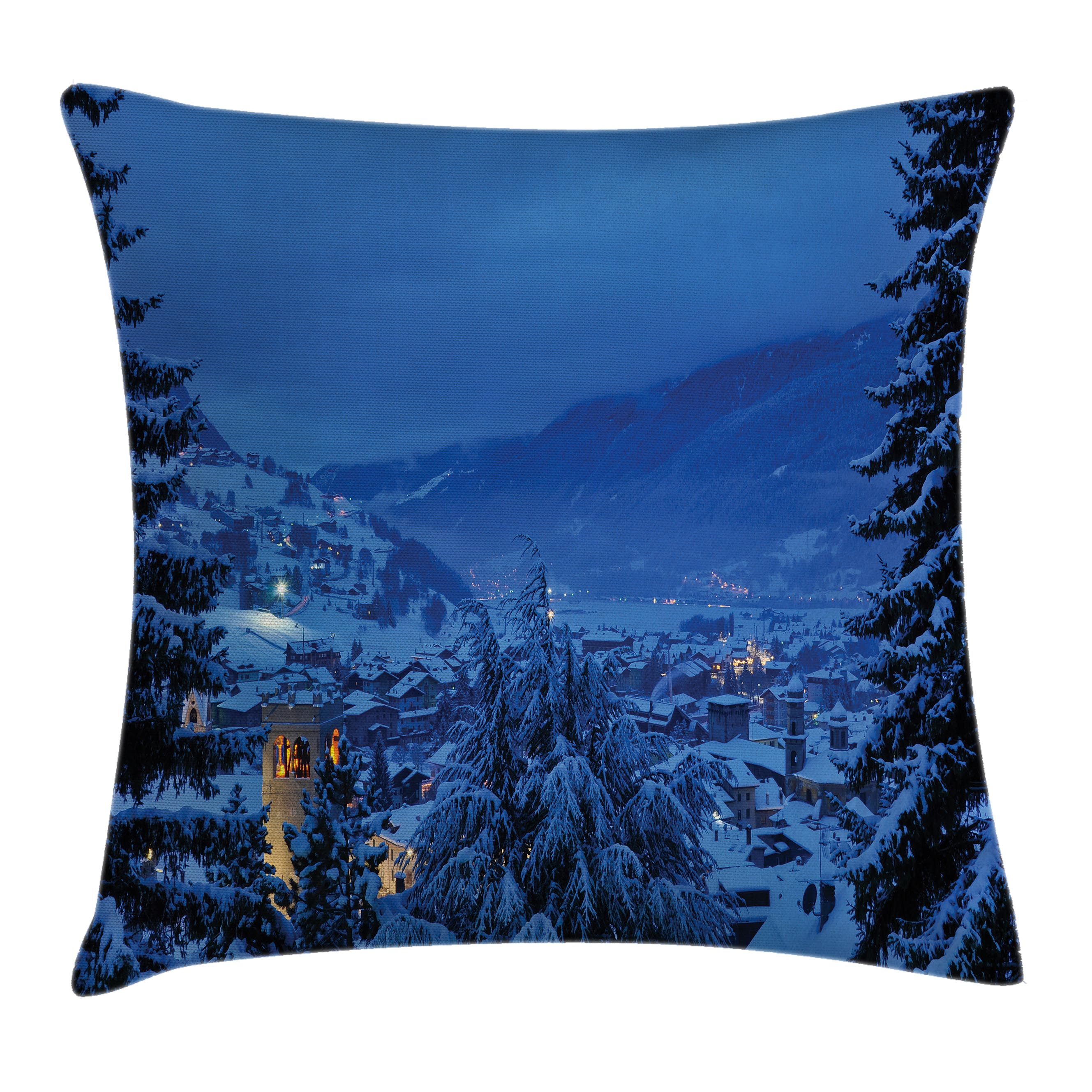 Click here to buy Farm House Decor Throw Pillow Cushion Cover, Winter Pine Trees Forest in European Woodland by the Mountains Nature Print, Decorative Square... by Kozmos.