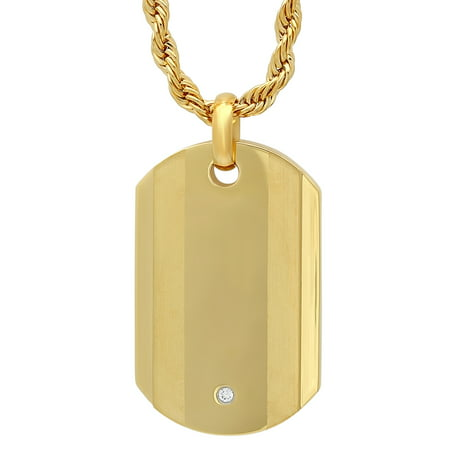 Men's Gold Tone Cubic Zirconia Dog Tag Pendant Necklace Chain - Custom Dog Tag Necklace