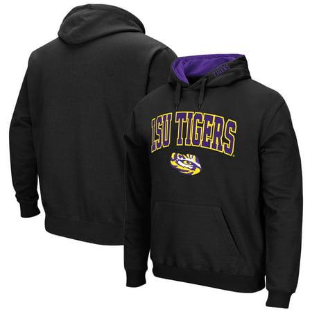 LSU Tigers Big & Tall Arch & Logo Tackle Twill Hooded Sweatshirt - Black Black Tackle Twill Hoody Sweatshirt