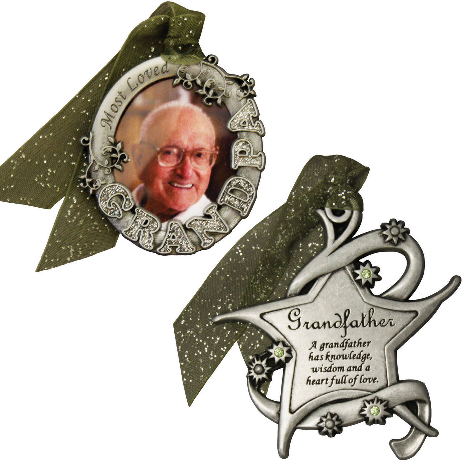 Personalized Gloria Duchin Grandfather's Christmas Ornament 2-Piece Set
