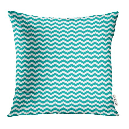 YWOTA Abstract Chevron Zigzag Striped Pattern in Teal Green and White Classic Colors Flat Pillow Cases Cushion Cover 20x20 inch - Green Flats