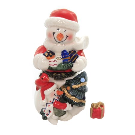 Snowman Hinged Box (Hinged Trinket Box SNOWMAN WITH RED HAT. Christmas Presents Tree Eb1171)