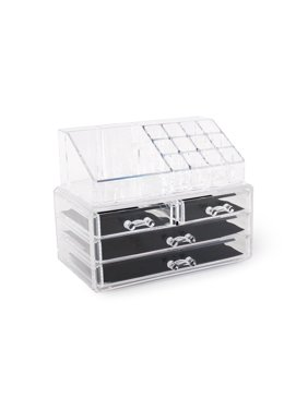 Acrylic Jewelry Cosmetics Organizer Two-Piece Set 4-Drawer Makeup Box Nail Polish Holder For Countertop Storage