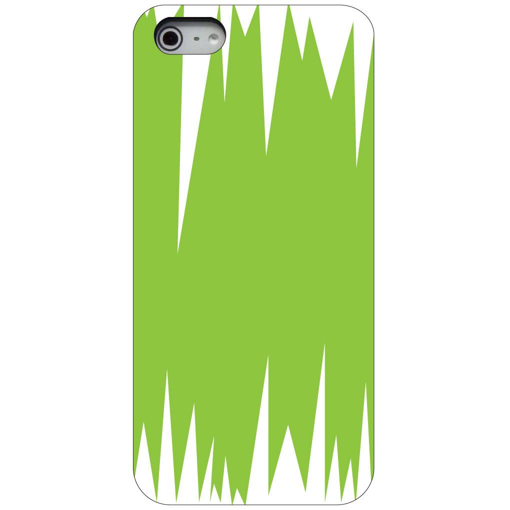 CUSTOM Black Hard Plastic Snap-On Case for Apple iPhone 5 / 5S / SE - Lime Green White Spikes