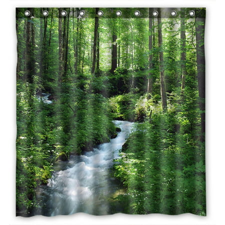 GCKG Clean Stream And Green Forest Bathroom Shower Curtain, Shower Rings Included 100% Polyester Waterproof Shower Curtain 66x72 Inches