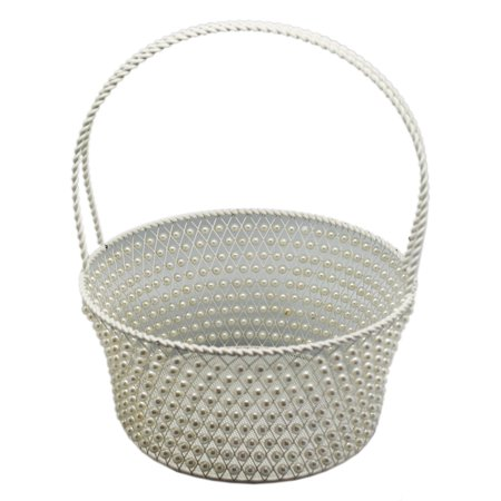 Handmade White Metal Frame Basket With Stringed Faux Pearl Weaving