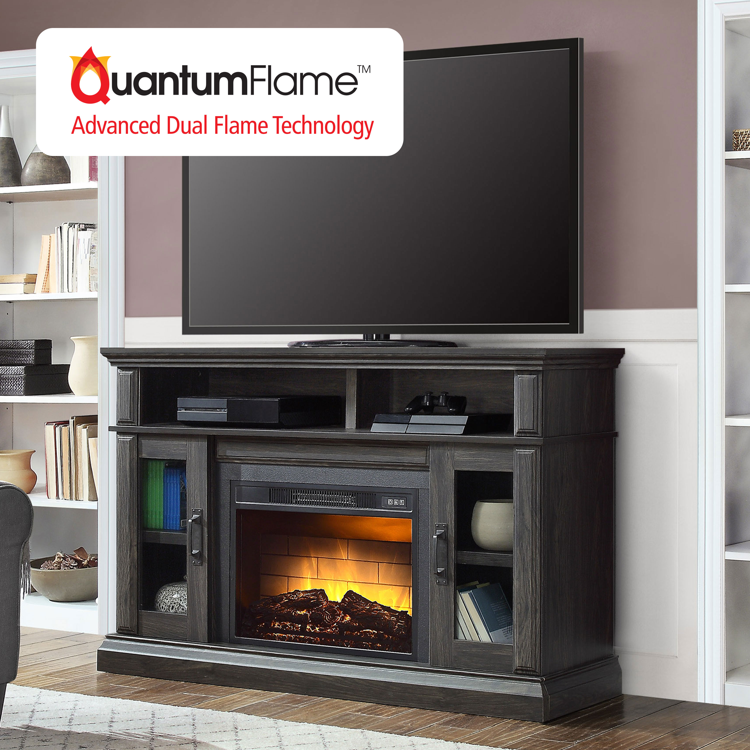 Whalen Layton Media Fireplace For 65 Tvs Up To 135lbs Weathered Ash