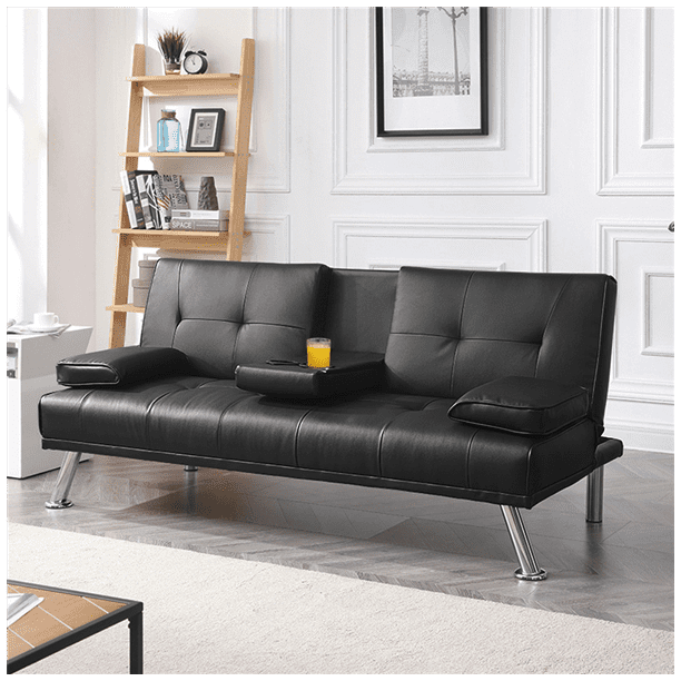 Luxurygoods Modern Faux Leather Reclining Futon With Cupholders And Pillows Black Walmart Com Walmart Com
