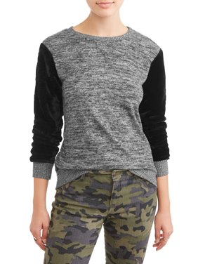 eb4e762fdd0 Product Image POOF Juniors  Brushed Marled Knit Sweater with Sherpa Sleeves