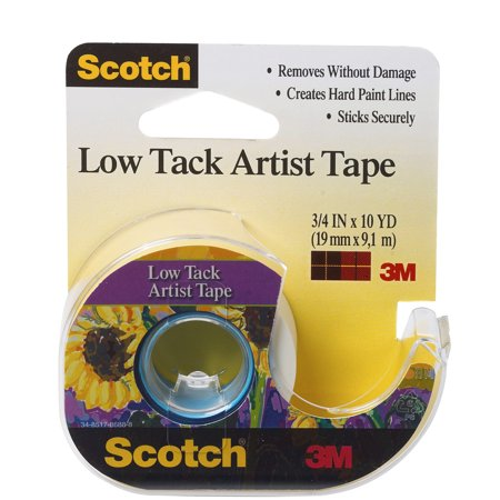 3M Scotch Low Tack Artist Tape Dispenser Roll, 3/4
