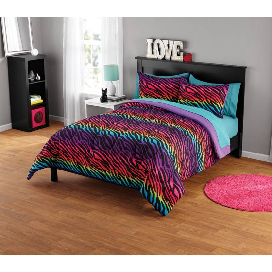 Your Zone Rainbow Zebra Comforter Set Walmart Com