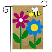 """Bumblebee Spring Burlap Garden Flag Floral 12.5"""" x 18"""" Briarwood Lane"""