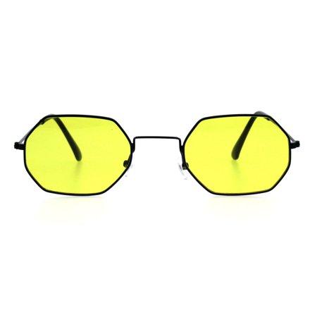 66f625a5131 SA106 - Mens Vintage Octagonal Metal Rim Pimp Color Len Sunglasses Black  Yellow - Walmart.com