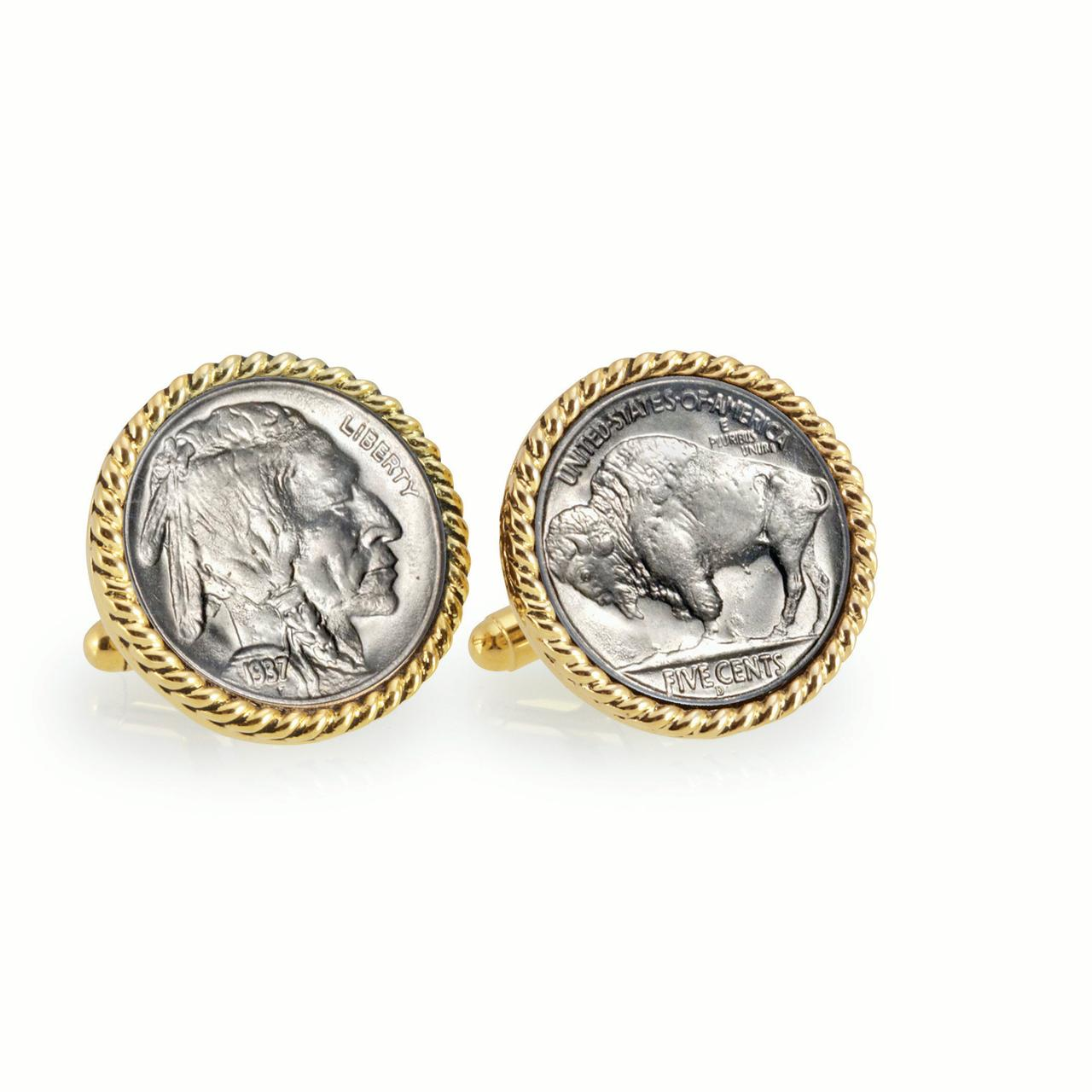 Buffalo Nickel Goldtone Rope Bezel Coin Cuff Links