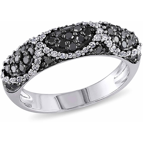 3/4 Carat T.W. Black and White Diamond Sterling Silver Fashion Ring