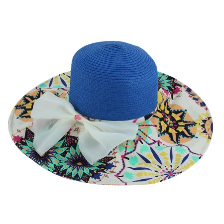 86031f68c895a Lady Foldable Straw Braided Bowknot Decor Beach Sun Bucket Hat Sunhat Navy  Blue - image 3 ...